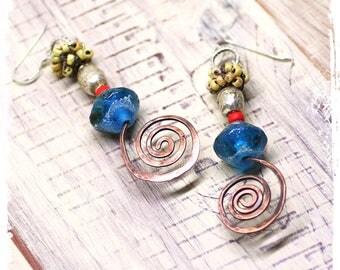 Copper spiral statement earrings, Blue lampwork earrings, Gypsy assemblage, Mixed metal bohemian earrings, Long dangle earrings for women,