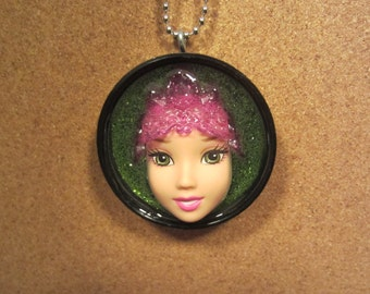 Green Eyed Queen - Upcycled Barbie Doll Pendant