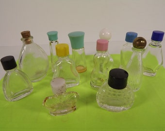 Vintage Miniature Perfume Cologne Bottles with Lids Lot of 12 Various Sizes 1950s Vanity Collection Display