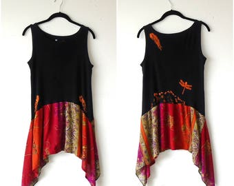Size S-M ~ Good Karma Bleach Art Sun Dress / Tunic  ~ distressed gypsy handmade upcycled boho chic hippie wearable art clothing
