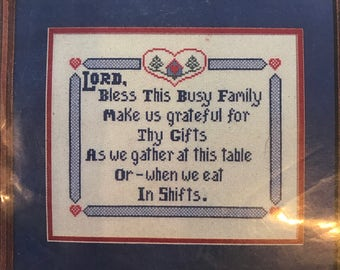 Counted Cross Stitch Kit - Busy Family Blessing - Dinner Prayer - cross stitch saying kit