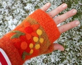 SALE Felted fingerless mittens orange wool hand knit with needle felted flowers size small-medium