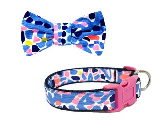 2016 TIC TAC TILE Dog Collar and Bow Set Made from Lilly Pulitzer Fabric Size: Your Choice