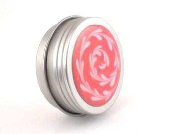 Small Pink Gold and White Treasure Box - Pink Gold and White Spiral Box - Small Jewelry Box - Trinket Box - Pill Box - Handmade - #58