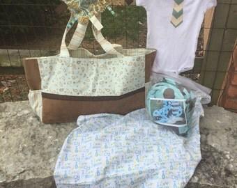 Baby Boy Gift Set, Baby Gift Set, Gift Set, Baby Boy Blue Gift Set, boy diaper bag, baby car seat cover, baby onesie