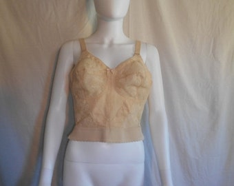 30% Off SALE 60s Long Line Bra - 1960s Bali Pin Up Bra - Bust 40 C - creme cream off white