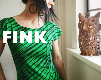 iheartfink Handmade Hand Printed Womens Green Black Diagonal Stripes Short Sleeve Art Print Top