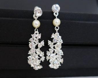 Bridal Statement Earrings, Wedding Earrings Chandelier Crystal Art Deco, Bridal Earrings Vintage, Wedding Jewelry for Brides Pearl Long ALIA