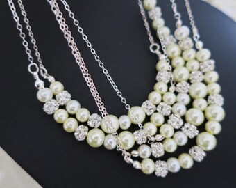 Bridesmaid Necklace Set of 5, Pearl Necklace Bridesmaid, Bridal Party Jewelry, Pearl Rhinestone, Pearl Crystal Necklace, Sterling Silver