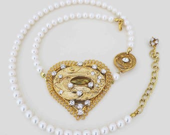 Wedding Headpiece Gold Bridal Pearl Headband Vintage Style Bridal ForeHead Band Couture Hair Accessory Gold Heart Crystal Swarovski Pearl