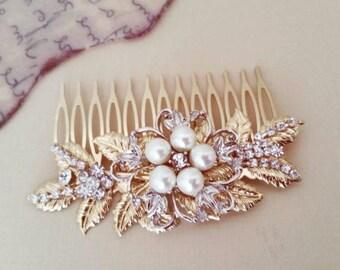 Antique Gold Hair Comb Bridal Hair Comb Gold Wedding Headpiece Leaf Hair Comb Vintage Style Hair Comb Rhinestone Headpiece Pearl Crystal