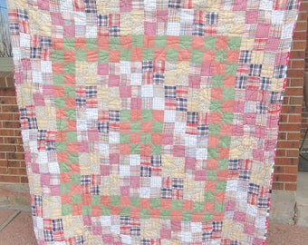 Vintage patchwork quilt, checkered plaid, classic American style quilt, farmhouse quilt, gingham, black and white, red