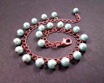 Pearl Charm Bracelet, Rose Gold Tone, Copper and Blue Glass Beaded Bracelet, FREE Shipping U.S.