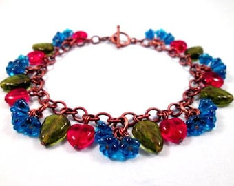 Flower Charm Bracelet, Blue Blossoms, Colorful and Copper Beaded Bracelet, FREE Shipping U.S.