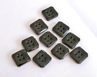 Antique Black Glass Buttons - Square Unused