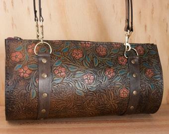 Leather Barrel Bag Purse - Handmade Women's Shoulder Bag in Tooled Western Floral Pattern - One of a kind - Pink, turquoise, antique black