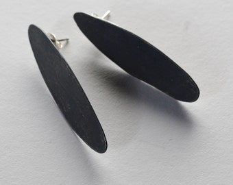 Oxidized Recycled Sterling Silver Post Earrings