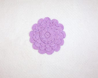 Crochet Lavender 5-layer Mum Flower Applique Large