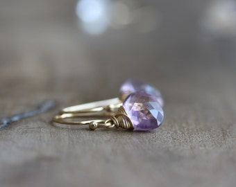 Amethyst earrings - amethyst briolette drop earrings in gold, February birthstone - handmade amethyst jewelry