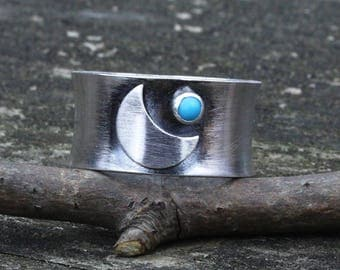 Crescent moon and sleeping beauty turquoise sterling silver wide band ring