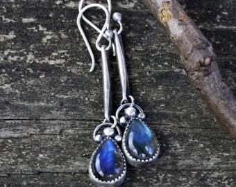 Labradorite sterling silver dangle earrings