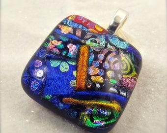 Dichroic Pendant, Fused glass pendant, glass necklace, Hana Sakura, dichroic glass, square necklace, rainbow jewelry, glass fusion, dichroic