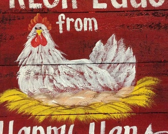 Fresh eggs from happen hens sign chicken on nest coop decor eggs farmhouse wall art Trimble Crafts wood plaque upcycled