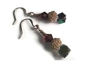 Purple earrings, crystal earrings, dangle earrings