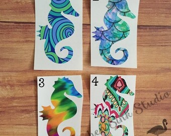 Seahorse vinyl decal ~ patterned vinyl, choice of prints, various sizes! Great for tumblers! permanent vinyl sticker