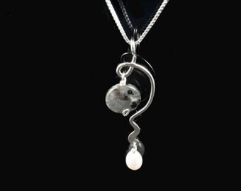 Sterling Silver Labradorite Quartz white pearl necklace
