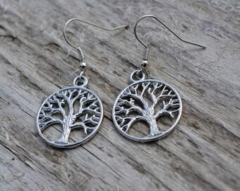 Tree of Life, Mystical Tree, Magical Tree, Pagan Wicca, Wiccan, Spiritual Symbol, Dangle Metal Earrings, Tree Earrings