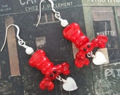 LOBSTER MATES - Artisan Lampwork Glass and Mother of Pearl Earrings