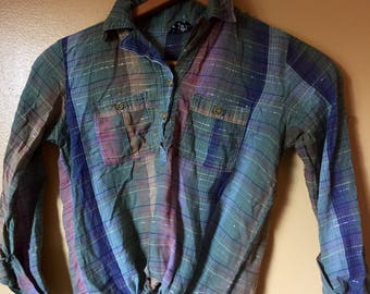 Vtg Earthy Rainbow Plaid Top with Lurex