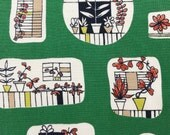 Panel of original Mid Century Modern 50s fabric for vintage cushion or framing