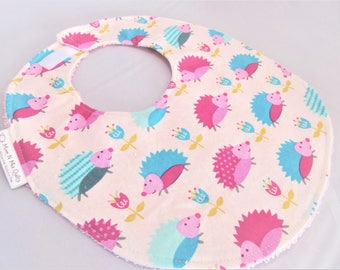 Baby Girl Bib - Toddler Girl Bib - Aqua & Pink Hedgehogs Forest Friends - Designer Cotton Bib with Terry Cloth Backing