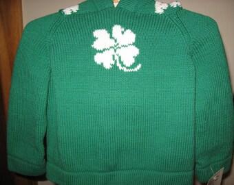 ST. Patrick's day shamrock 4 leaf clover zip up the back hoooded green infant sweater size 12 months