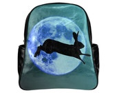 Leaping hare rucksack moon backpack black turquoise teal bunny bag rabbit pagan fashion unique print bag shoulder straps alternative bag