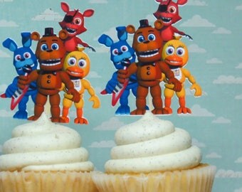 FNAF Five Nights at Freddy's Birthday Cupcake Toppers Finished and Mailed To You!