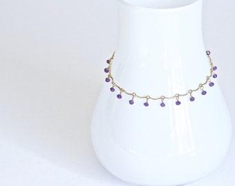 Leticia - Delicate Gold Amethyst Bracelet | February birthstone bracelet