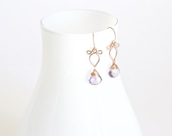 Arabella - Petite Lavender Amethyst and Rose Gold Filled Earrings | Delicate Rose Gold Dangles