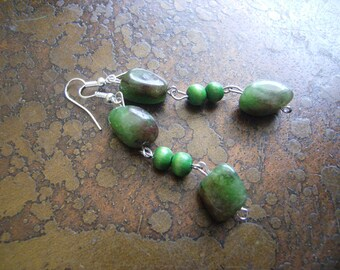 Lush Wood and Mashan Jade Dangle earrings