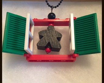 Christmas Meeple Lego Window Necklace