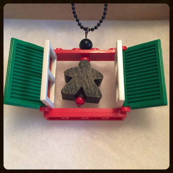Christmas Meeple Lego Window Necklace