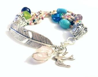 Fandango Feather Beaded Bracelet - Flying Bird