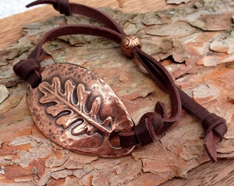 Adjustable Copper Leaf Bracelet, Hand Hammered Copper, Slide Bead Adjustment, Soft Chocolate Deerskin Leather and Copper