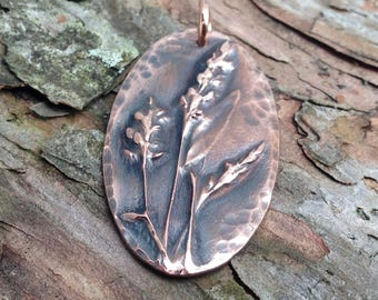 Copper Flower Pendant, BoHo Copper Jewelry, Botanical Pendant, Gardener Gift, Summer Trend, Rustic Wildflower, Gift for Her