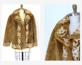 Vintage 50s 60s  Shearling Jacket/ Brown Cream Dyed Lamb/ Abstract Print Sz S