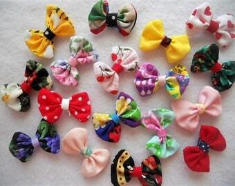 Tiny Fabric Bows YoYo Headband Wedding Rosette Hair Clip Dog Bows Baby Bobby Pin Scrapbook Wholesale Handmade