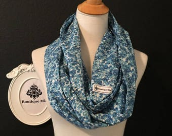Ready To Ship - Infinity SCARF - Flower Power Blues - Quilters Cotton  - by Boutique Mia