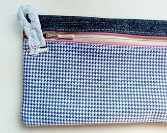 Houndstooth and denim pencil case recycled cotton with zipper